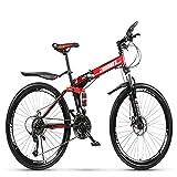 AFF Vélo de Montagne Pliable Vélo à Frein à Disque Double 21, 24, 27, 30 Vitesses 26, 24 Pouces vélo à Double Amortissement pour Tous Les âges,24 Stage Shift,24 inches