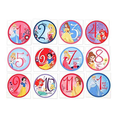 Disney Baby Girls Disney Characters Monthly Milestone Photo Prop Belly Stickers, 12 Sticker Gift Set, 0-12M (Round Shaped Sticker Set)