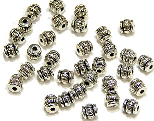 Perlin 50 Tibet Silber Zwischenteil Metallperlen für Schmuck 5mm Versilbert F208