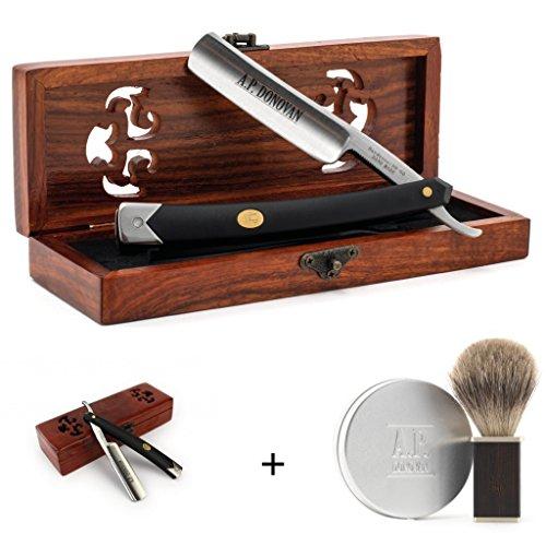 A.P. Donovan - Rasiermesser Set | Geschenkset | kombinierbar | Bartpflege Set - rasoir en plastique noir solide, Sandelholz Pinsel & Seife