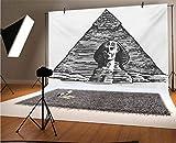 Fondo de vinilo egipcio para fotos de 10 x 6.5 pies, boceto de arte de esfinge y la pirámide del antiguo imperio histórico de fondo para baby shower, estudio de fotos
