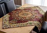 Mantel LPUK Afshari Collection Series5 morado 100 cm × 100 cm aprox. Mantel de tela cuadrada clásico patrón vintage