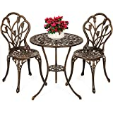 Best Choice Products 3-Piece Outdoor Rust-Resistant Cast Aluminum Patio Bistro Set w/Tulip...