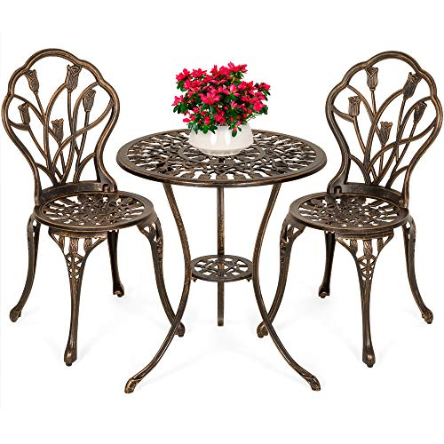 Antique Copper Cast Aluminum 3 Piece Patio Set