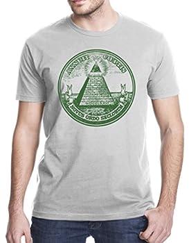Eye of Providence All Seeing Eye Pyramid Dollar Bill Masonic T-Shirt 2XL Gray