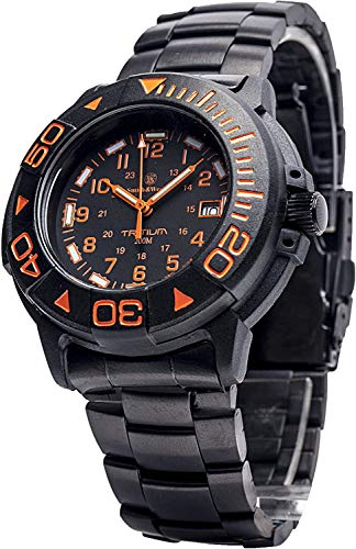 Smith & Wesson Men's Diver Swiss Tritium Military Watch, 20ATM, Black Dial, with Metal and Rubber Band