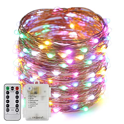 Erchen Battery Operated LED String Lights, Dimmable 66 FT 200 LED Ultra Thin Waterproof 8 Modes Timer Copper Wire Fairy Lights with 13 Key Remote for Indoor Outdoor Christmas Party (Multicolor)