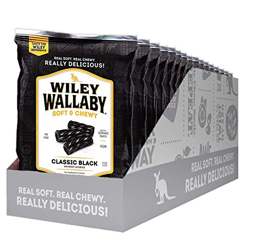 Wiley Wallaby Classic Black Licorice, 4 Ounce Bags, 16 Count