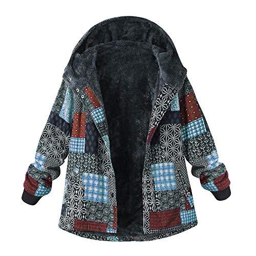 YOMXL Women Classic Pea Coat Winter Warm Faux Fur Fleece Outdoor Jackets Casual Printed Hooded Outwear