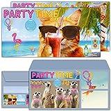 12er Set Party-Katze Einladungskarten mit Umschlag zum Kindergeburtstag oder Party - edle Einladung für Kinder Teenager & Erwachsene von BREITENWERK