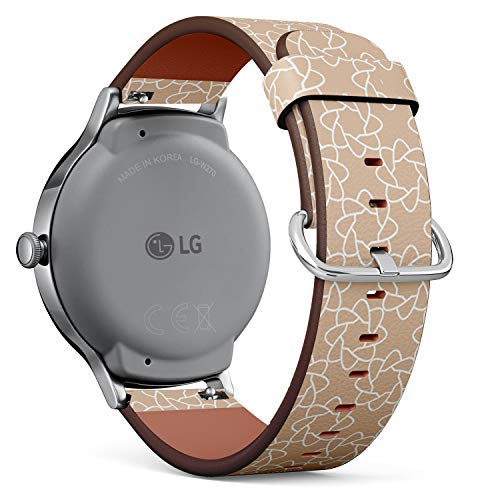 Compatible with LG Watch Style - Leather Watch Wrist Band Strap Bracelet with Quick-Release Pins (Beige White Geometric Ornament)