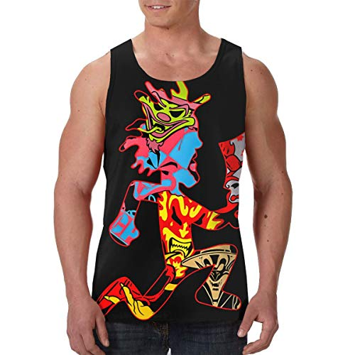 Men's Thin Breathable Crew Neck Tee Print Premium Tank Top, Insane Clown Posse ICP Graphic Comfortable and Soft Moisture Wicking Compression Muscle Jersey Tank Black