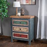 Christopher Knight Home Everest Collection 3 Drawer Cabinet, Antique Dark Green