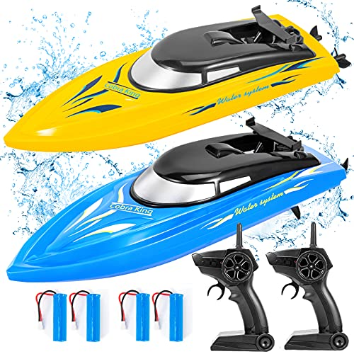 2PACK RC Boat,Remote Control Boats for Kids and Adults,10km/H 2.4G High Speed Remote Control Boat,Fast RC Boats for Pools and Lakes with 4 Rechargeable Battery.(Blue+Yellow)