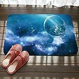 Estera de Entrada de Cielo Estrellado Sala de Estar Dormitorio Alfombra de vacío Planeta cósmico impresión Alfombra de Entrada de baño 80 * 50 cm C