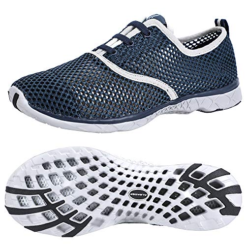 ALEADER Men's Quick Drying Aqua Water Shoes Blue 9.5 D(M) US