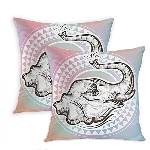Ajckly Boho Pillow Case, Beautiful Elephant Head Over Tribal Geometric Africa India Tattoo Throw Pillow Cover, Soft Cushion Cover Decor Pillowcases for Sofa Bed Car Chair, 18x18 Inch, Set of 2