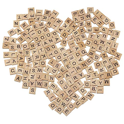 100 de Madera Scrabble Azulejos Negro Letras Números Para Manualidades Madera alfabetos UK