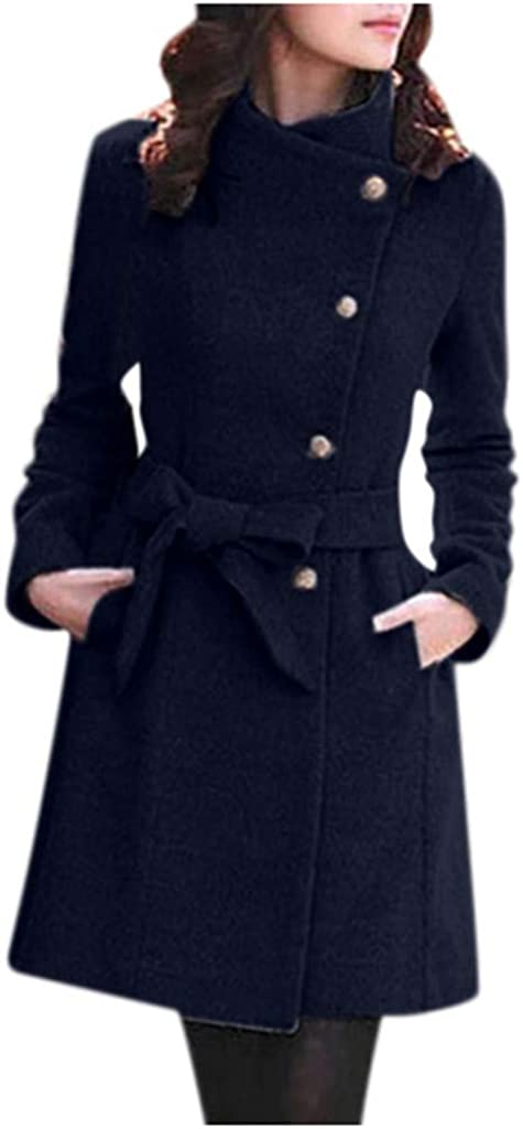 POTO Women Coats Clearance,Ladies Double Breasted Pea Coat Elegant Winter Lapel Wool Coat Trench Jacket Overcoat Outwear