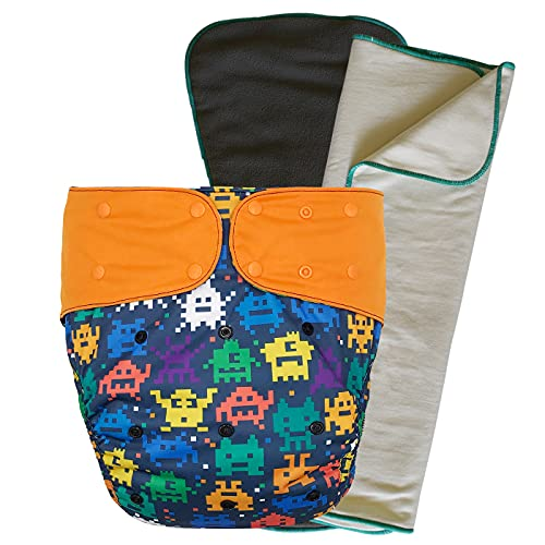 Cloth Diaper Cover Set - Reusable Incontinence Protective Briefs with Bamboo Inserts for Special Needs Big Kids, 10-15 Years (Retro Game, Youth)