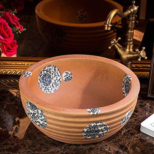 DWSS Lavabo de cerámica Lavabo de cerámica pintado a mano con lavabo redondo sobre encimera