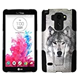 For LG G Stylo LS770 / LG Stylus H631 / ITUFFY 3items: Screen Protector Film+Stylus Pen+Dual Layer Impact Resistance Plastic Cover Soft Rubber Silicone KickStand Hybrid Case (Grey Wolf) -  Snaponcase