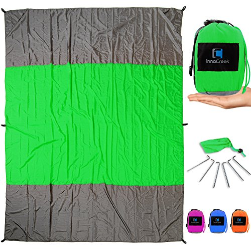 InnoCreek XL 9 x 7 ft Sand Proof Beach Blanket/Picnic Blanket Machine Washable Parachute Nylon - Includes 6 Stakes and 4 Pockets - Compact and Lightweight Mat for Outdoor Use (Green/Grey)
