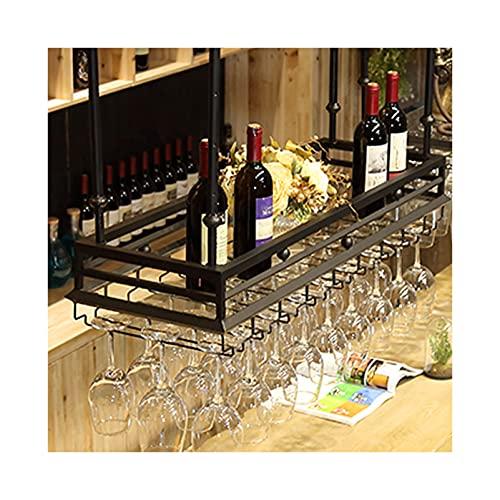 LWZ Portavasos para Vino Negro, Estante para Copas de Barra Colgante, Estante para Colgar Vino, Soporte para exhibición de Botellas de Vino, 100x35cm