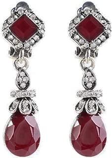 Silver Tone Art Deco Antique Vintage Style Ruby Burgundy Red Garnet Rhinestone Dangle Clip-On Earrings