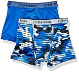 Calvin Klein Little Boys' Kids Performance Boxer Brief Underwear, Multipack, 2 Pack - Camo, Victoria Blue, M (8/10)