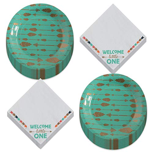 Boho Tribal Party Supplies - Rustic Teal Paper Dessert Plates and Tribal Arrow Beverage Napkins (Serves 16)