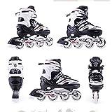 JKlb Patines en línea Full-Flash para niños, adultos, hombres y mujeres, patines de ruedas para niños, niñas, principiantes, patines en línea cómodos, de alta calidad, color negro, talla L