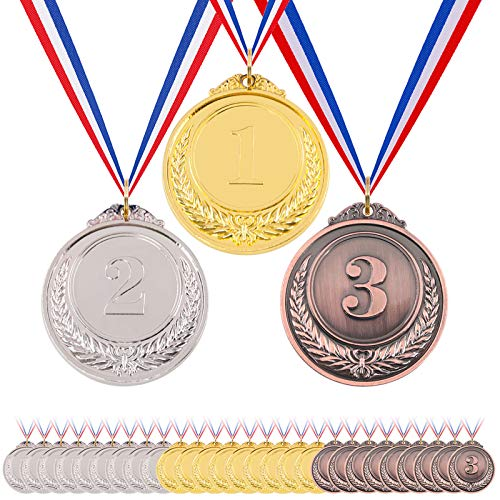 Hilitchi 30 Pcs Gold Silver Bronze Award Medals with Ribbon Winner Awards Olympic Style for Kids School Sports Meeting Sports Events or Celebration Souvenir