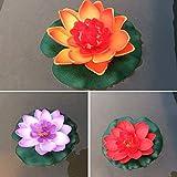 Decoración de pecera 3 piezas de loto flotante de colores mezclados de flores artificiales realistas de lirios de agua micro paisaje para boda, estanque de jardín, plantas falsas decoración (color: B)