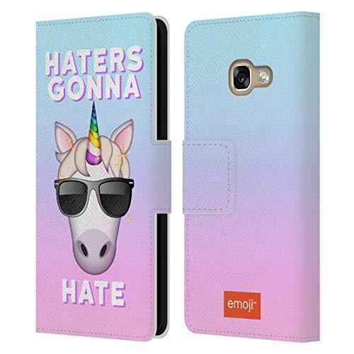 Head Case Designs Oficial Emoji Los odiadores Unicornios Pastel Carcasa de Cuero Tipo Libro Compatible con Samsung Galaxy A3 (2017)