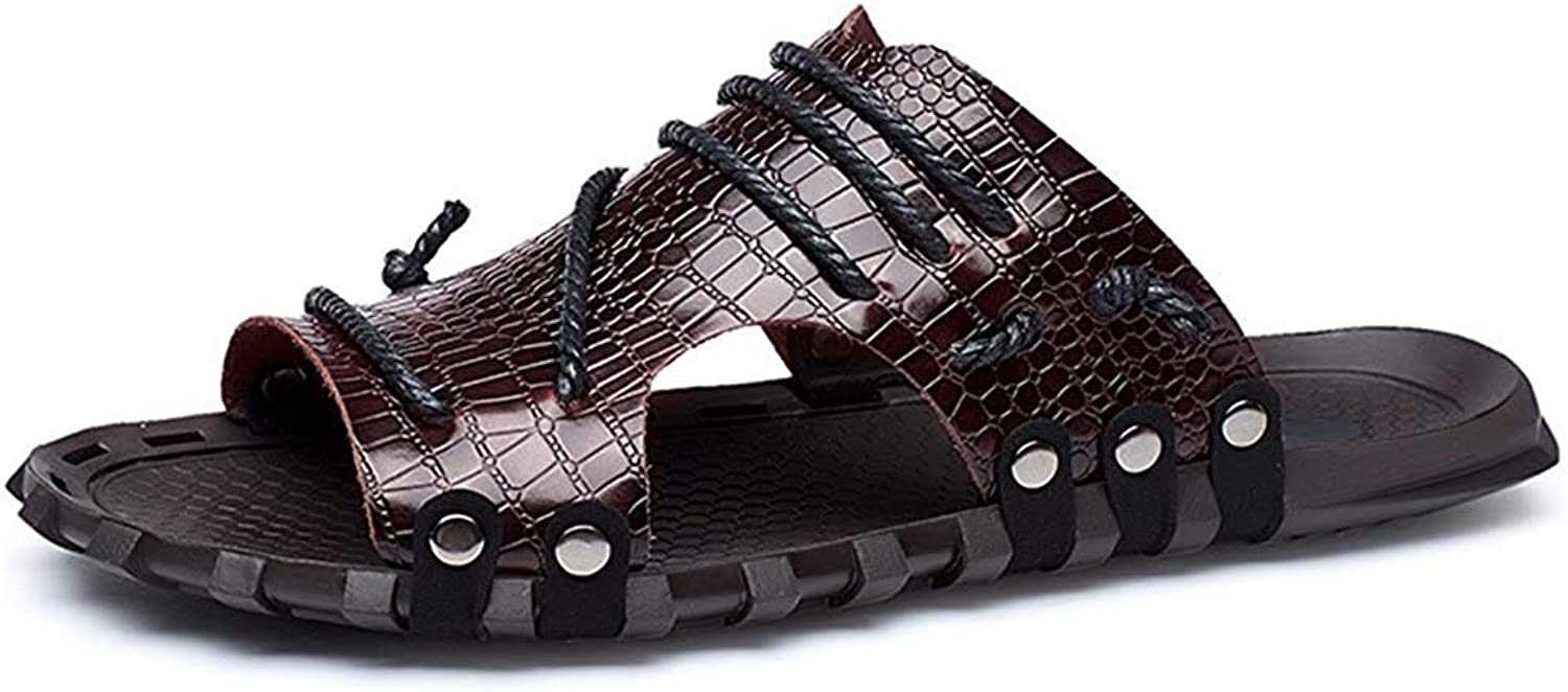 Ghapwe Men's Stylish Leather Cut Out Anti Skid Breathable Flats Shower Beach Slide Sandals Brown 9 M US