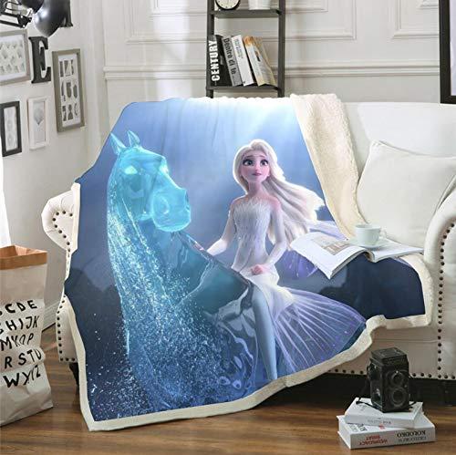 POMJK Disney Gefrorener Charakter Frozen Eiskönigin Decke,Anna und ELSA - Fleecedecke Decke,Flauschige,Weiche,Polyester,für Bed Sofa Couch (130×150cm,8)