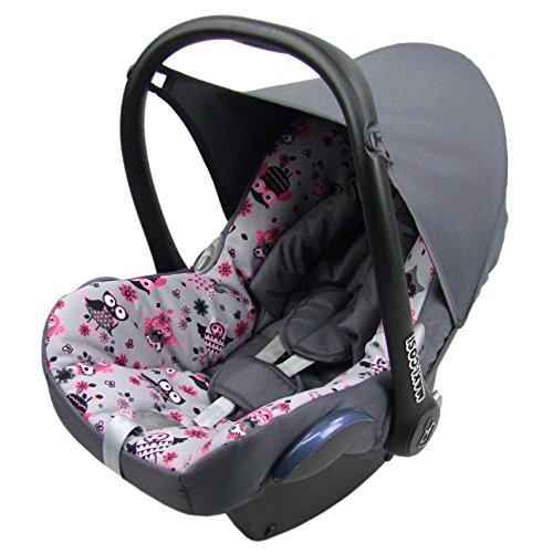 BAMBINIWELT Ersatzbezug für Maxi-Cosi CabrioFix 6-tlg, Bezug für Babyschale, Komplett-Set EULE $12/DUNKELGRAU XX
