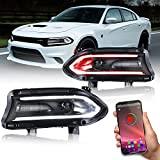 VLAND RGB LED Headlights Assembly for Dodge Charger 2015-2020, Multicolor Halo DRL, Switchback Turning Light, Dual Beam Projector Head lamps Kit Pair, Plug and Play