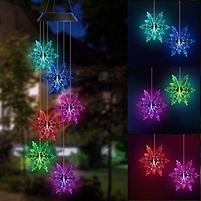 DOUBLEZHE Snowflake Solar Wind Chime Light Solar Powered Waterproof LED Wind Chime Color Changing with USB for Outdoor Patio Garden Home