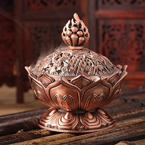 mengger Räuchergefäß Lotus Weihrauchbrenner Weihrauchbehälter Rückfluss, Räucherschälchen Räucherschale mit Deckel Räucherkegel Kupfergefäß Räuchergefäß für Geschenk Zubehör Mini Metall Aromatherapie