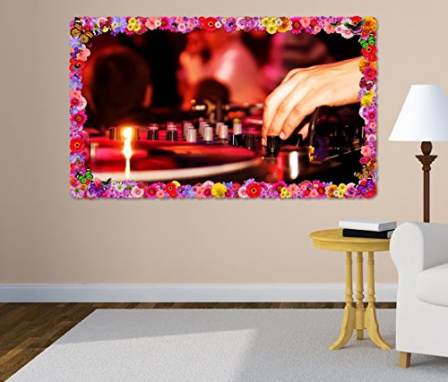 3D Wandtattoo Musik DJ Mischpult Disko Party Club Blumen Rahmen Wandbild Tattoo Wohnzimmer Wand Aufkleber 11L1143, Wandbild Größe F:ca. 97cmx57cm