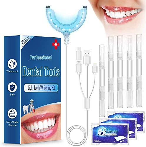 Teeth Whitening Kit, iFanze Teeth Whitening Gels Kit Set with Led Light Professional Home Teeth Bleaching Kit - Perfect Home Teeth Whitening System