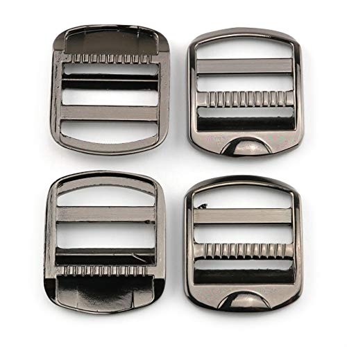 E-outstanding Tension Lock 4PCS 25mm/1Inch Black Adjustable Zinc Alloy Buckles Ladder Lock Slider for Backpack Strap Accessories