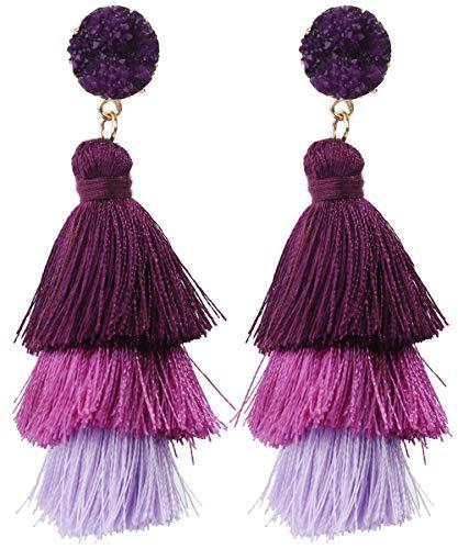 Rave Envy Pendientes de borla coloridos para mujer, pendientes de borla en capas, colores a elegir Una talla le queda a la mayoría morado
