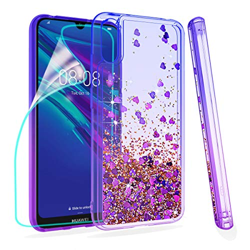 ZingCon Compatible for Huawei Y6 2019 Phone Case,Honor 8A/Play 8A Glitter Quicksand Case,with HD Screen Protector,Shockproof Hybrid Hard PC Soft TPU Bling Adorable Shine Protective Cover-Blue/Purple
