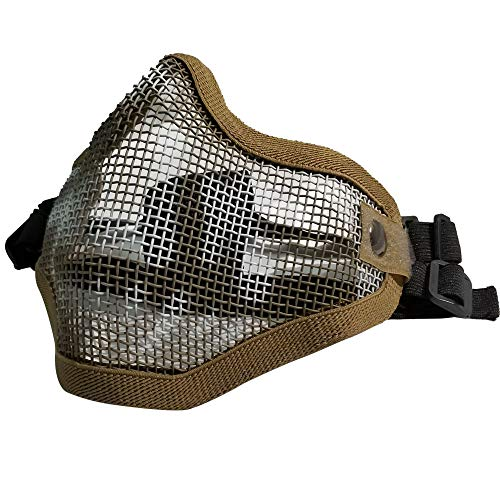 IndependentThose Tactical Airsoft Wire Steel Protective Mask Adjustable Metal Steel Mesh Half Face Mask for with Outdoor Airsoft CS War Game BB Gun Hunting Paintball