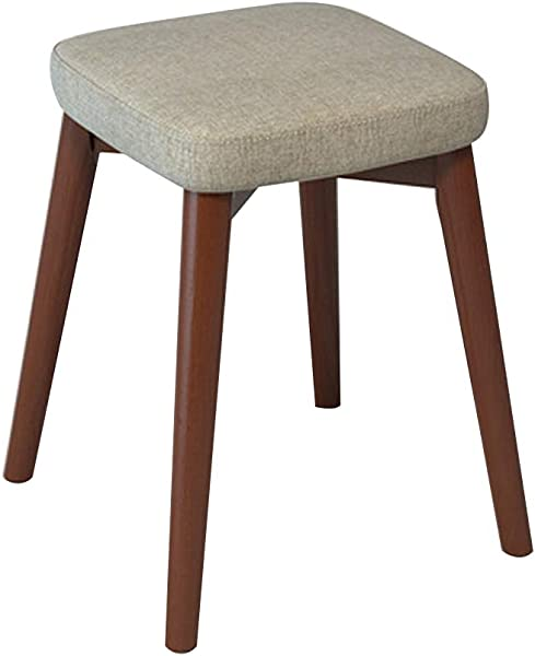 Home Dining Stool Chair Stool Home Decor Stacking Stool Adult Small Wood Stool Living Room High Elastic Sponge Bench Upholstered Padded Stool Solid Wood 13x13x18IN Plain