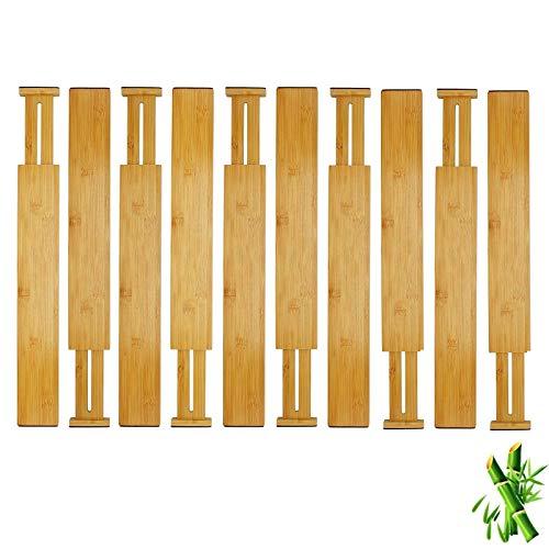 Dodeno Separador de cajones ajustable de bambú madera cocina alta cajón divisor cajón cajón cajón divisor sistema separador separador cajón cajón cajón organizador natural 10 unidades