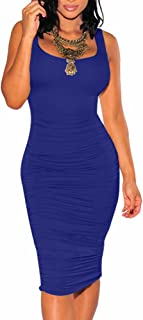 Women's Sexy Ruched Bodycon Casual Solid Sleeveless Tank Midi Dress